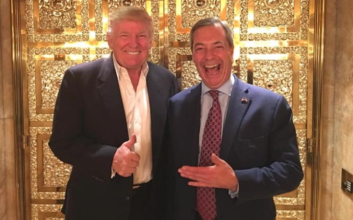 Donald Trump and Nigel Farge in Gold Plated Lift